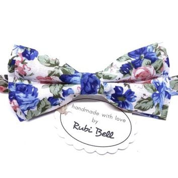 Bow Tie - floral bow tie - wedding bow tie - white bow tie with blue, pink and green flower pattern - man bow tie - men bow tie