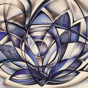 "Original abstract art drawing fractal curves ""Blue lotus"" pen on paper"