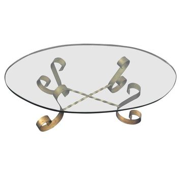 Pre-owned 1950s Gilt Metal Base Italian Coffee Table