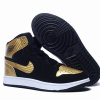 Men's Nike Air Jordan 1 Retro High Black Gold