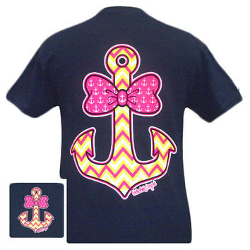 Girlie Girl Originals Anchor Bow Chevron Blue Bright T Shirt