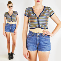 vintage 90s blue STRIPED ZIPPER CROP top / striped crop top / op ocean pacific top / 90s crop top / grunge crop top / club kid crop top / s