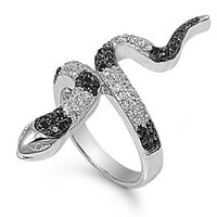 Sterling Silver Black and Clear Cubic Zirconia Snake Ring