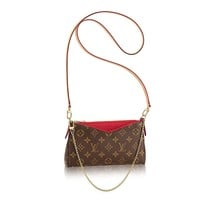 Authentic Louis Vuitton Monogram Canvas Pallas Clutch Handbag Cherry Article: M41638 Made in France