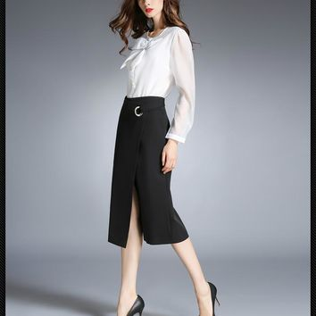 2017 Spring New Summer Fashion England Style Women Skirts Formal Elegant Sexy Black Office Lady Style A-Line Women's Skirt