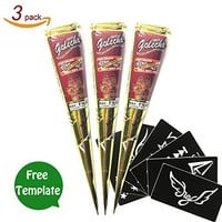 GSN Temporary Tattoo India Henna Tattoo Paste White Tatouage Temporary Paste Cone Body Art Painting with Free Henna Stencil Set (3PCS)