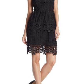 Dex Layered Lace Dress with Crochet Trim