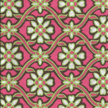 Pink and Green Floral Fabric for Quilting, 1/2 Yard, more yardage available