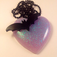 Purple Glitter Heart With Black Bat, Fantasy Kawaii Jewelry, Gothic Lolita, Edgy Glam Jewelry