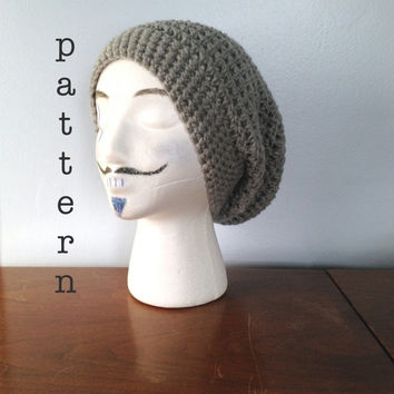 CROCHET PATTERN Slouchy Beanie Pattern Crochet Hat Crochet Slouch Hat Mens Beanie Womens Beanie Dread Tam Easy Crochet Pattern Gorgeous Rasta Hat Crochet Pattern