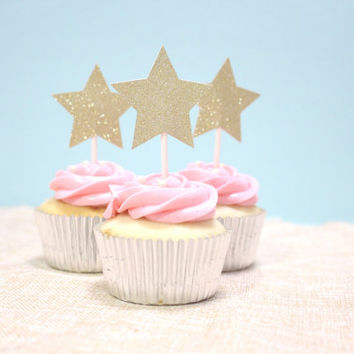 Star Cupcake Topper in Gold Glitter - For Party, Celebration, Bachelorette, Wedding, Birthday, Baby Shower, Gold Theme Birthday (Set of 12)
