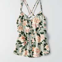 AEO Printed Button Cami , Green