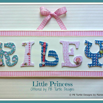 Princess Themed custom, personalized name plaque, letter sign, made to order, children's nursery art and decor, girl name sign