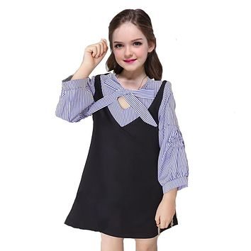 Girls Preppy Style Dresses for Children School Uniform Bow Kids Long Sleeve Striped Patchwork Clothes