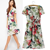 Stylish V-neck Short Sleeve Chiffon Print Slim Women's Fashion Skirt One Piece Dress [5013269124]