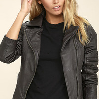 Black Swan Bella Washed Black Vegan Leather Moto Jacket