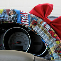 The Original Superheroes Steering Wheel Cover with Matching Red Bow