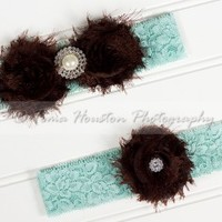 Bridal, Wedding Garter Set- Brown Shabby Chiffon Flowers, Aqua Lace
