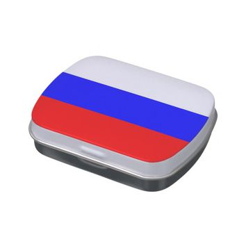 Patriotic candy tins with Flag of Russia