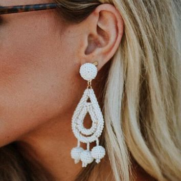 Camellia Teardrop Dangle Earrings - Beaded Ivory