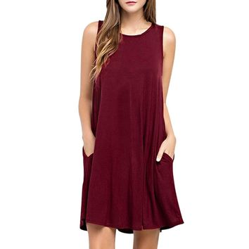 Women Dress Solid Casual Sleeveless Evening Party Dresses Summer Round Neck Cut Out Cute Shift Dress