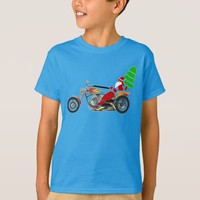 Christmas Santa Riding Chopper Bike With Red Hat T-Shirt