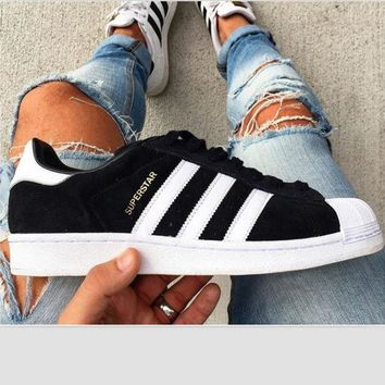 """""""Adidas"""" Trending Fashion Casual Shell-toe Flats Sneakers Sport Shoes Black white G"""