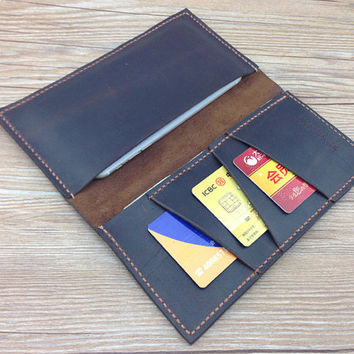 iPhone 6 wallet, bifold wallet, crazy horse leather, gift, mens iphone wallet, oversized leather clutch, Iphone 4/5/6 protective case