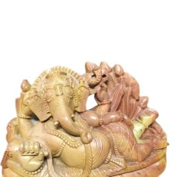 Home Decor Handcarved Ganesha Stone Statue Yoga Hindu Religious Sculpture 5 Inc