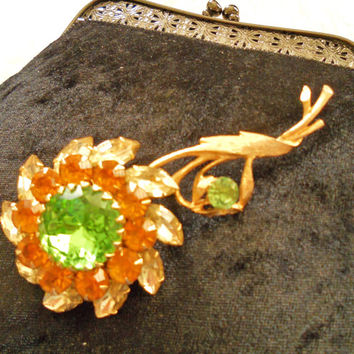 Vintage Jumbo Judy Lee Signed Intense Amber, Yellow & Green Rhinestones SunFlower Brooch Huge Center Focal Green Rhinestone Pin