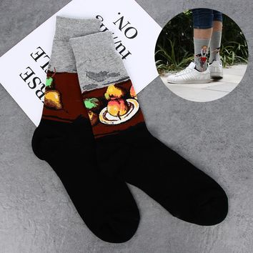 New Spring Unisex Vintage Novelty Painting Art Socks Abstraction Creative Pattern Women Retro Socks Men Funny Socks