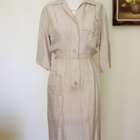 Vintage 1940s Khaki Silk Shirtwaist Dress, Alexanders of California Dress