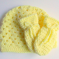 Toddler Pastel Yellow Thumbless Mittens Baby Hat Set Girl Winter Cap Infant Boy Beanie 1 - 2 Years Children Fall  Clothing Pale Light