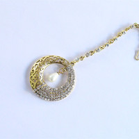 Gold Crystal Round Tikka/Wedding Gold Maang Tikka/Prom Tika Jewelry/Head-Piece