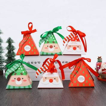 Merry Christmas Candy Box Bag Christmas Tree Gift Box With Bells Paper Box Gift Bag Container Supplies Navidad Freeshipping