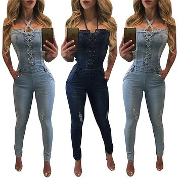 FITTED DENIM LACE-UP JUMPSUIT