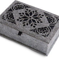"Heather Gray and Navy - 7.75"" x 5"" x 2.75"" Small Jewelry Box"