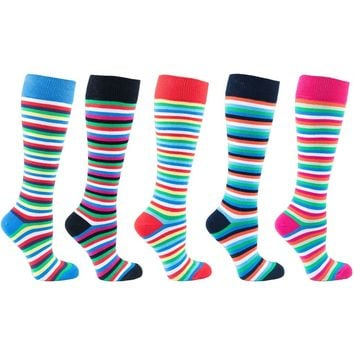 Women's 5-Pair Colorful Striped Design Knee High Socks