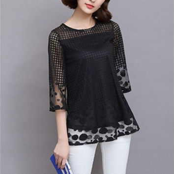 2016 Women Blouses Elegant Shirts Loose O-Neck 3/4 Sleeve Women Tops Lace Shirt Blouse Plus Size M-5XL [8833672140]