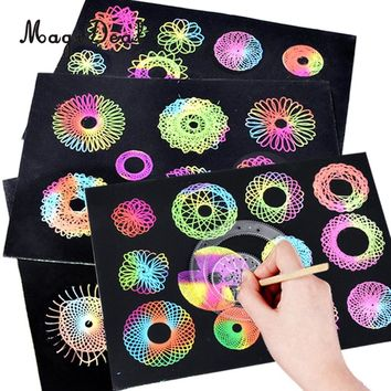 Spirograph Design Set Geometric Ruler Stencil Tools With Pen & Scratch Paper Spiral Drawing Art Craft Kid Educational Toys Gift