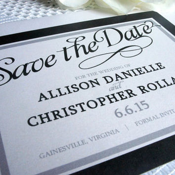 Elegant Save the Date Card - Save the Date Cards, Black and White, Save the Date, Formal, Classy, Script, Modern - DEPOSIT