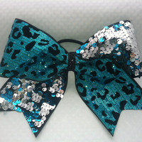 "3"", 3 inch ribbon cheer cheerleader bow turquoise cheetah sequins and reversilble sequins on black ribbon-Team Bows"