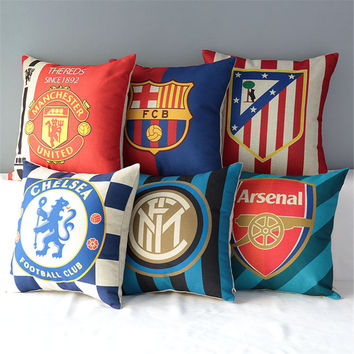 "18"" Square World Cup Football Clubs Pattern Soccer emoji Cotton Linen Cushion Sofa Decorative Throw Pillow Chair Car Home Decor"