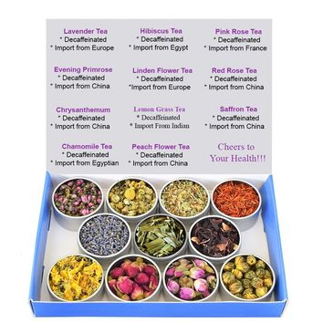 Tea Sampler - Flower Tea - Decaffeinated - Herbal - Gift Box - Chrysanthemum - Linden Flower - Saffron - Hibiscus - Lavender - Chamomile - LemonGrass - Rose - Tea - Loose Tea - Loose Leaf Tea