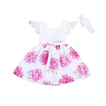 Summer Kids Baby Girl Flying Sleeve Lace Flower Dress Princess Floral Tulle Tutu Formal Party Dresses