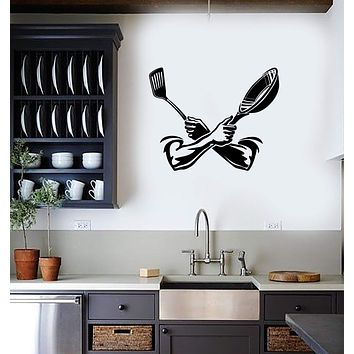Vinyl Decal Wall Sticker Mural Kitchen Cooking Pan Spatula Decor Unique Gift (g073)