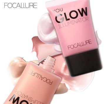 FOCALLURE Glow Liquid Illuminatore Face Body Highlighter Cream for Shimmer Skin Perfector Primer