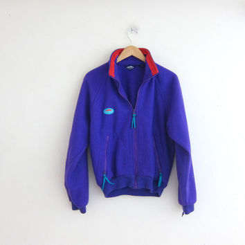 vintage fleece jacket. purple Ski blanket coat. sweater jacket with zippers. size S