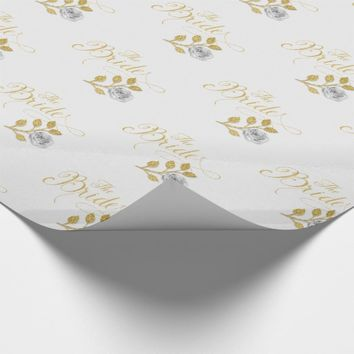 The Bride Faux Gold Glitter look Wedding Wrapping Paper
