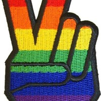 Rainbow Gay Pride Peace Fingers - Embroidered Iron On or Sew On Patch